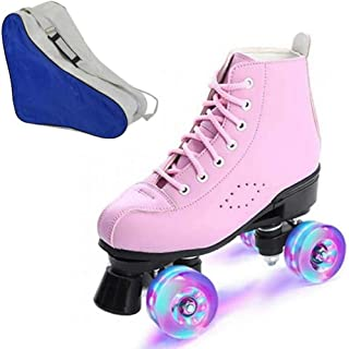 MEIMESH Women's Roller Skates PU Leather High-top Roller Skates Four-Wheel Roller Skates Shiny Roller Skates with Carry Bag for Girls