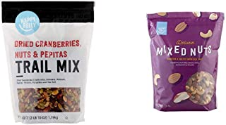 Amazon Brand - Happy Belly Dried Cranberries, Nuts & Pepitas Trail Mix, 42 oz & Happy Belly Deluxe Mixed Nuts, 44 Ounce