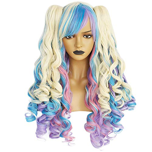 Anogol Hair Cap+Blonde Blue Pink Wig Long CurlyLolita Wigs with Ponytails Wigs