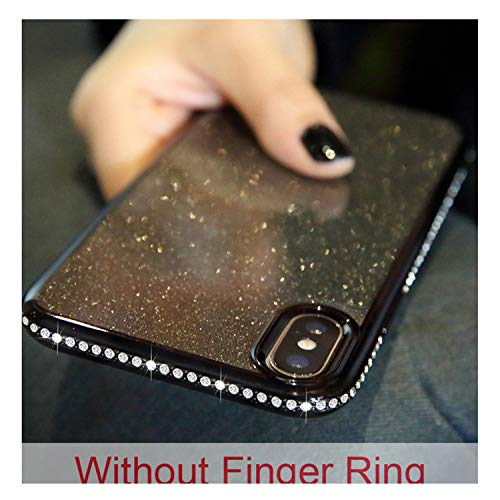 Glitter Diamond Case For Iphone XS MAX X 10 XR 6S 6 8 7 Soft Finger Ring Silicone Cover For Samsung Galaxy S8 S9 Plus S7 Edge Black -for Samsung S9