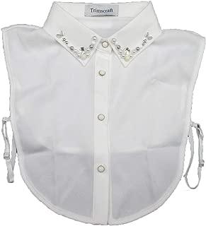 Trimscraft False Collar Collar Half-Shirt Blouse Lace Chiffon Beads Embroidered Off White
