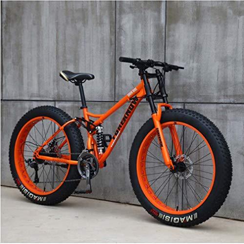 AISHFP 26 Pulgadas Fat Tire Bicicleta Todo Terreno, Motos de Nieve Beach, Doble Freno de Disco del Crucero de Bicicletas, Marco Ligero Acero de Alto Carbono,Naranja,27 Speed