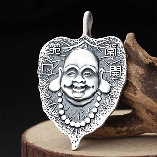 Collar con Colgante De Buda Bodhisattva Amuleto Joyeria Collar Necklace Unisex Regalo para Hombre Y Mujer Plata De Ley 999 con Caja Regalo