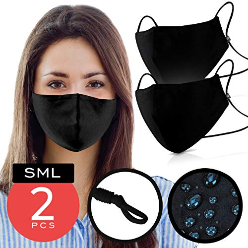Black Cotton Mouth Cover – Pack of 2 - FITS MOST ADULTS – Waterproof & Coated with Swiss SG Tech on USA Satin Cotton with Nose Bridge, Adjustable Strap, Washable & Reusable 40x for both Men & Women