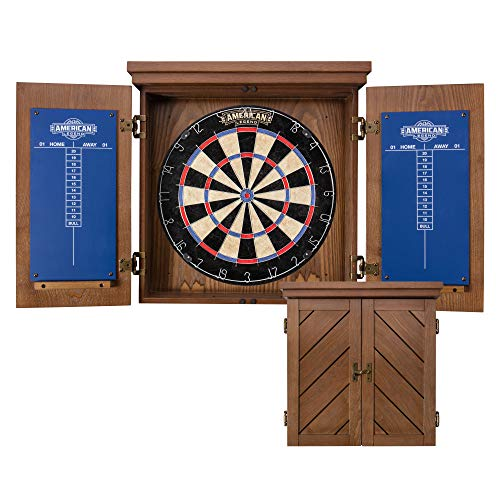 "American Legend Charleston Solid Wood Bristle Dartboard Cabinet Set - Includes 18"" dartboard and 6..."