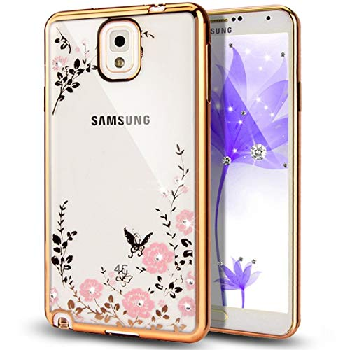 Galaxy Note 3 Case,NSSTAR Pink Butterfly Floral Flower Bling Crystal...