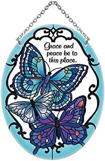 Blue Butterflies Grace and Peace Be to This Place Stained Glass Suncatcher (MO257R)