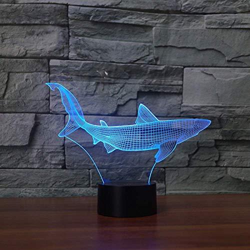 Nachtlampje, illusie bedlampje USB-lamp kleurrijke noten-verrekijker slaapkamer baby-kind geschenk-shark