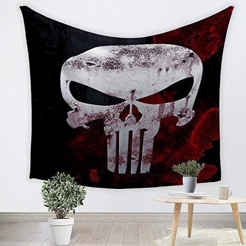 Tapestry Wall HangingTapiz de la torre de hierro de la serie de grano de madera,tela para colgar en la pared de fondo de decoración del hogar de cara de cráneo de elefante 3D-2_Los 230 * 150cm