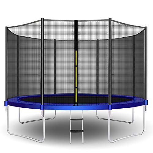 CalmMax Trampolines 12FT Jump Recreational Trampoline with Enclosure Net, Ladder - ASTM Approved - Combo Bounce Outdoor Trampoline for Kids Happy Time