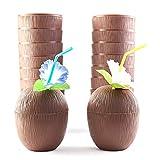 DomilayPaquet de 18 Tasses de Noix de Coco pour la FêTe des Enfants HawaïEns Luau avec des Pailles de Fleurs d'hibiscus - Tiki et ThèMe de Plage