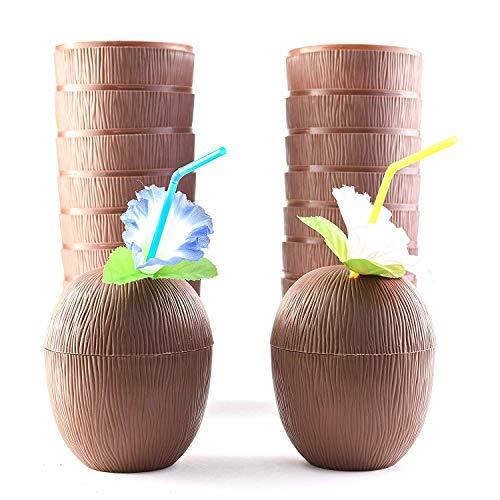 SCOUT Juego de 18 tazas de coco para el día de los niños Hawaianos de Luau con pajitas de flores de hibisco – Tiki y tazas divertidas para fiestas con temática de playa