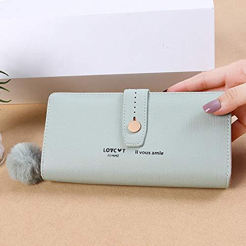 Dames portemonnee lange portefeuille multicard multifunctionele horizontale brievenbus, lichtgroen (groen) - 9874085436662