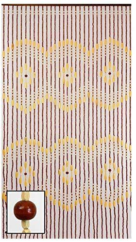 "BeadedString Wood Beaded Curtain-31 Strands-72 High-Natural Wood Beaded Door Beads-Doorway Curtain-35.5"" W x 72"" H-31 Strands-Treda"