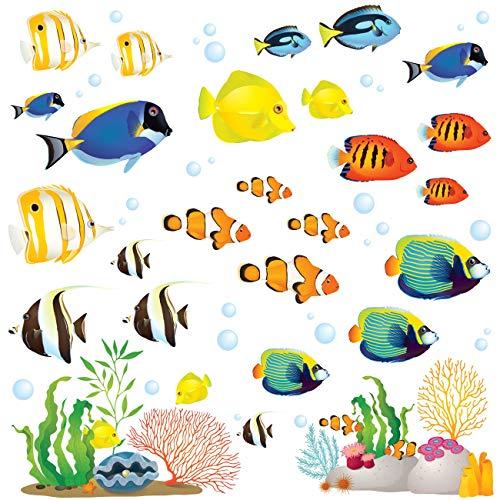 DECOWALL DS-8035 Korallenriff Fisch Wandtattoo Wandsticker Wandaufkleber Wanddeko für Wohnzimmer Schlafzimmer Kinderzimmer(Klein)