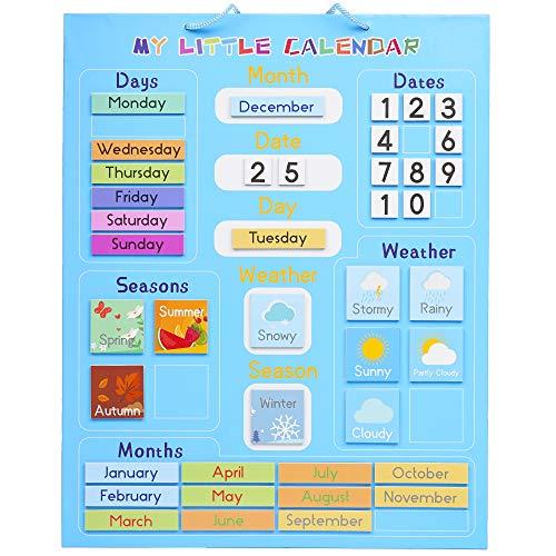Mi Primer Calendario para Niños, Magnético 42x35cm  Juguete Educativo, Actividad Aprendizaje - Tiempo Estaciones Días Semanas Meses - Regalo para Cumpleaños y Navidad, para el Hogar y la Escuela.