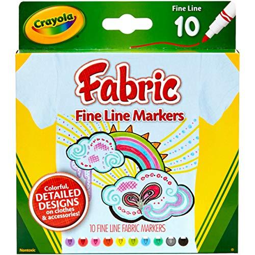 Crayola Fine Line Fabric Markers-10/Pkg