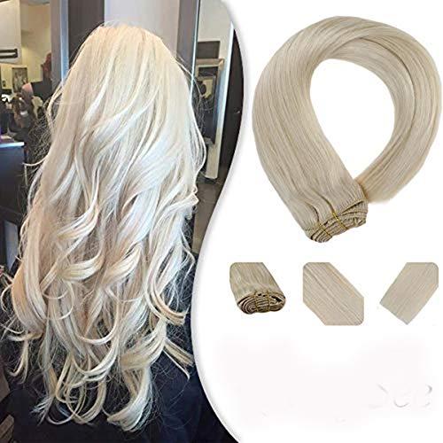 YoungSee 35 cm Extensions Echthaar Clip in Platinblond #60 für Komplette Haarverlängerung Voller Kopf Glatt Haare 7pcs 120g