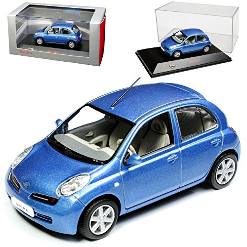 J-Collection Nissan Micra K12 3. Generation Blau Grau 2003-2010 1/43 Modell Auto