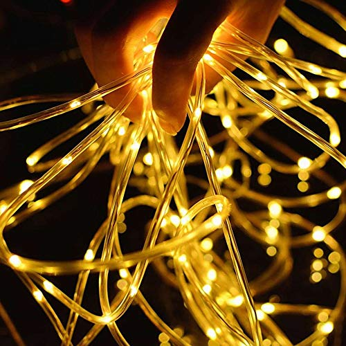 LIIDA LED Rope String Lights, 32.8ft Length 100 LEDs Waterproof Dimmable Starry Lights with 8 Modes for Home Patio Wedding Party Festival Christmas Decor (Warm White (Solar))