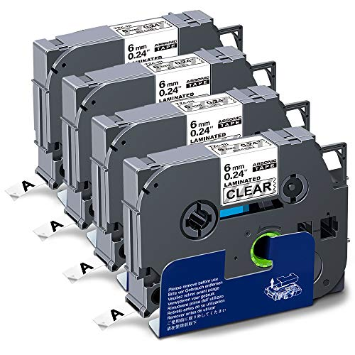 Absonic Compatible Label Tape Replacement for Brother Tze-111 Tze 111 Tz-111 TZ111 Tze 6mm Black on Clear Laminated Tape for PT-D600 PT-D210 PT-H110 PT-D400 PT-1280 Label Maker, 1/4'' x 26.2', 4-Pack