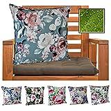 heimtexland  Outdoorkissen Dekokissen Schmutz- und Wasserabweisend Landhaus Garten Outdoor Kissen Blumen Grau Rosa Typ675