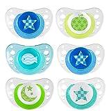 CHICCO Day & Night ciuccio 6+ Boys 6-16 mesi Soft Silicone, 6 unità, 3 contenitori per il trasporto e la sterilizzazione