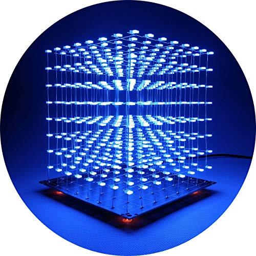 iCubeSmart 3D Led Cube Kit Diy Soldering Project 8x8x8 Led Light Cube Diy Kits electrónicos Kit de aprendizaje de soldadura programable (3D8S-BLUE)