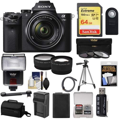 Sony Alpha A7 II Digital Camera & 28-70mm FE OSS Lens with 64GB Card + Flash + Case + Battery + Tripod + Tele/Wide Lens Kit