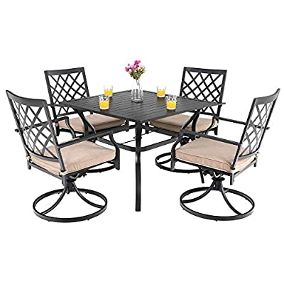 """PHI VILLA Outdoor Patio Furniture 5 Piece Dining Set with 37"""" Larger Dining Table and 4 Rocker Swivel Arm Chairs"""