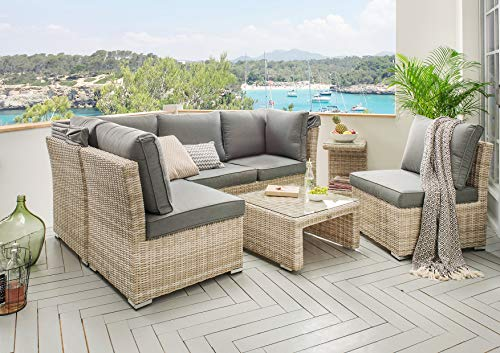 Destiny Lounge Loungegruppe Aruba Sitzgruppe Sofaset Faltdach Polyrattan (76070) - 8