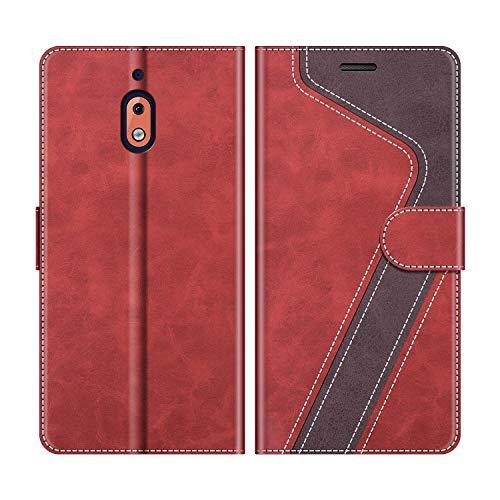 MOBESV Handyhülle für Nokia 2.1 Hülle Leder, Nokia 2.1 Klapphülle Handytasche Hülle für Nokia 2.1 Handy Hüllen, Modisch Rot
