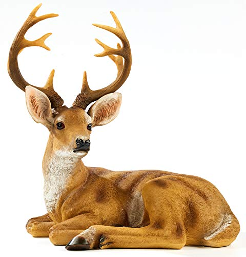 TAOBIAN Resin Buck Male Deer Statue-Animal Figurines Garden Sculpture Accessories for Indoor Outdoor Decoration Rustic Lodge or Art Gifts for Father Birthday Anniversary Yard Lawn Decor