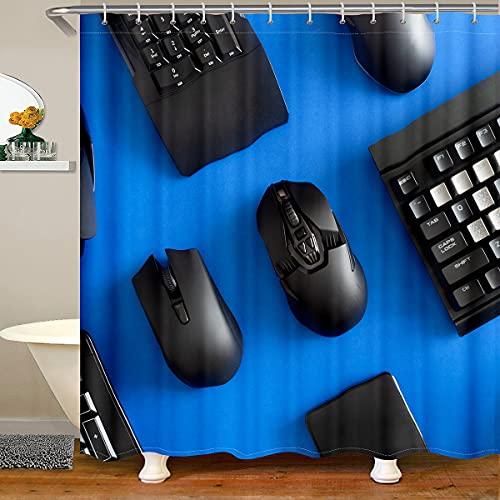 Homewish Cortina de baño para juegos con 12 agujeros de ojales, cortina de ducha impermeable con teclado inalámbrico y ratón impreso, color azul y negro, 183 cm de ancho x 198 cm de largo