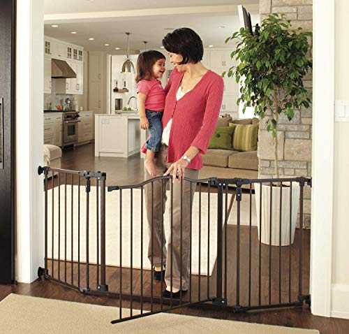 North States 72' Wide Deluxe Décor Baby Gate: Provides safety in extra-wide spaces with added one-hand functionality. Hardware mount. Fits 38.3'-72' wide (30' tall, Bronze)