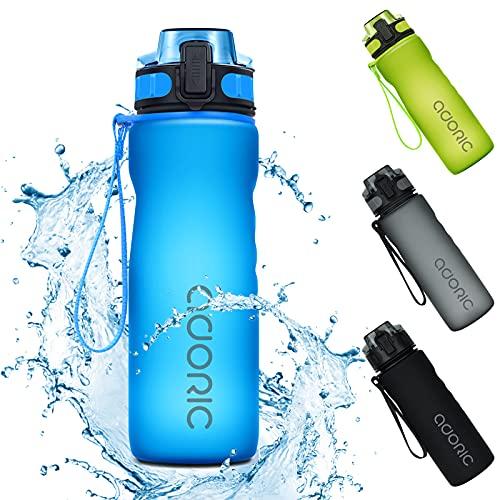 Adoric Sport Trinkflasche, [BPA Frei Tritan] 500ml/1L Auslaufsicher Kunststoff Wasserflasche Sport, Sportflasche Fahrrad für Camping Freien, Outdoor, Yoga, Gym