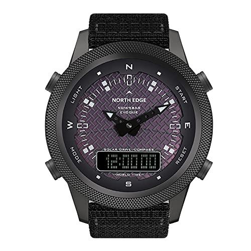 Wan&ya Reloj Deportivo con energía Solar para Hombres Reloj de energía cinética Cuarzo Digital Relojes de Carga Solar a Prueba de Agua al Aire Libre con brújula Reloj Despertador Luz de Fondo