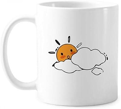 雲の天気は、太陽のイラストのパターン ハンドルの350 mlギフトと古典的なマグカップ白陶器セラミックカップ