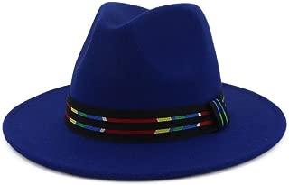 XueQing Pan Women Men Wool Fedora Hat With Striped Belt Wide Brim Hat Elegant Lady Hat Pop Jazz Hat