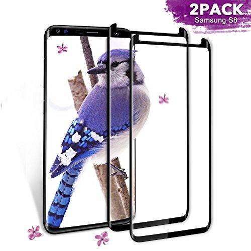 Aonsen - Pellicola Protettiva in Vetro temperato per Samsung Galaxy S8, 2 Pezzi, durezza 9H, Anti-graffio (Nero)