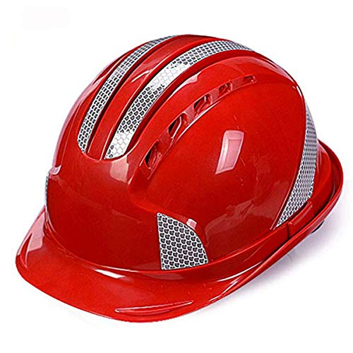 Qinsir Unisex Casco De Construcción,Casco Seguridad Sombrero Duro,Ventilación De Seguridad ABS Casco Casco De Rayas Reflectantes Casco De Trabajo Arquitecto,Escalera,Ingenieros,Rojo