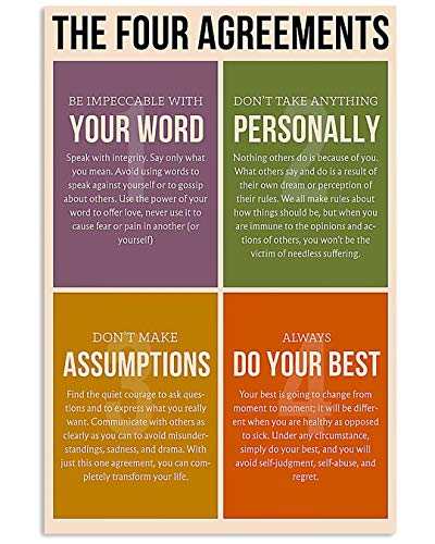 Social Worker The Four Agreements Your Work Personally Do Your Best Assumptions Poster No Frame Or Framed Canvas 0.75 Inch Print in Us Novelty Quote Meaningful, Motivational
