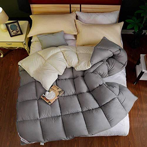 CHOU DAN Quilt 95 White Goose Down Quilt Quilt Klimaanlage Quilt Winterbettwäsche Single Double Student-220 * 240 cm 3000 g_Grau Plus Gelb