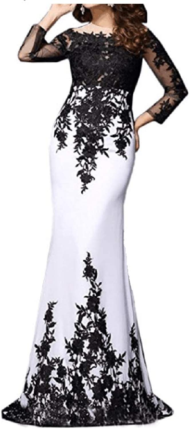 ANGELA Women's Long Sleeves Formal Mermaid Black and White Evening Dresses