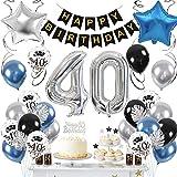 SPECOOL 40 Años Globos Decoración Cumpleaños, Globo Fiesta de Globos Metálicos Azul Plata, Globos Negros para Fiesta de Cumpleaños para Hombres Niño Niña con Hojas de Palmera