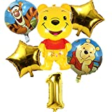 6pcs Winnie The Pooh Party Balloons Miotlsy-Winnie The Pooh Birthday Party Supplies Balloons Party Foil Balloons for Kids Gift Birthday Party Supplies Decor