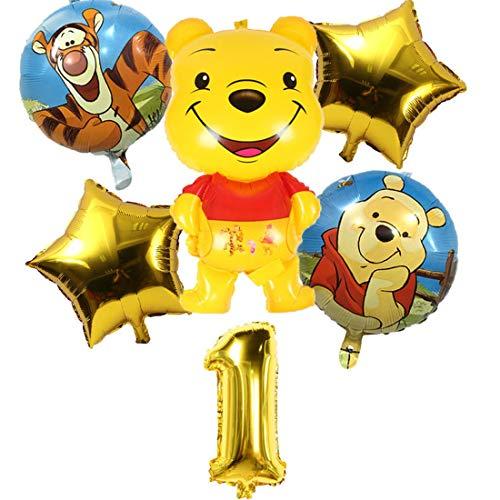 Packung 6 Ballons Winnie The Pooh Miotlsy-Winnie The Pooh Latex Ballons mit Bändern Geburtstag Party Dekoration Karneval für Partys und Geburtstage. Ideal,um Ihre Partys zu schmücken