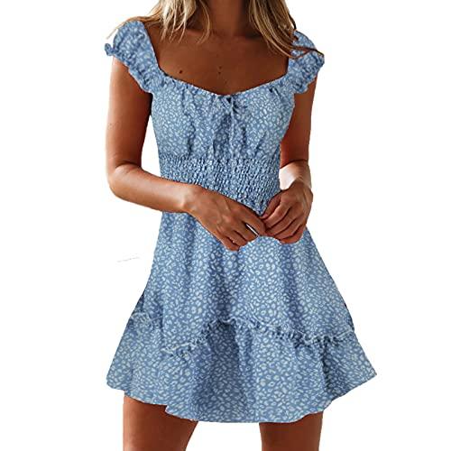 Ydwan Sommerkleid Damen Kurz, Sexy Kurzarm Minikleid Lässiges Blumenkleid Elegant Strandkleid A Line Taillenkleid Damen Sommer Urlaub Kleider