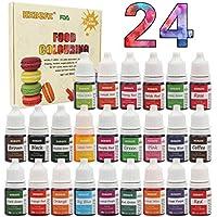 Colorante alimentario 24*6ml, Colorante Alimentario Alta Concentración Liquid Set para Colorear los Bebidas Pasteles Galletas Macaron Fondant