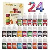 Colorante alimentario 24*6ml, Colorante Alimentario Alta Concentración Liquid Set para Colorear los Bebidas Pasteles Galletas Macaron Fondant